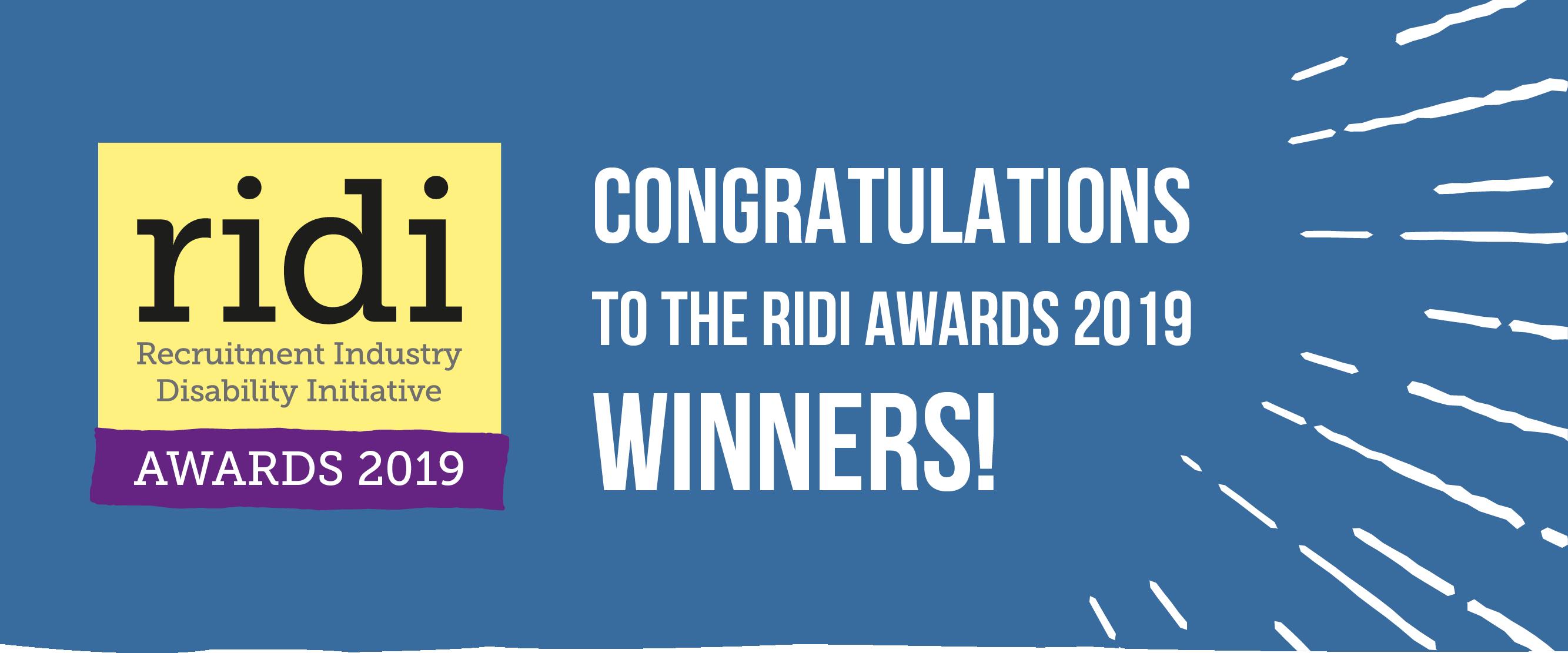 RIDI Awards 2019 logo with Congratulations to the RIDI Awards 2019 winners strapline