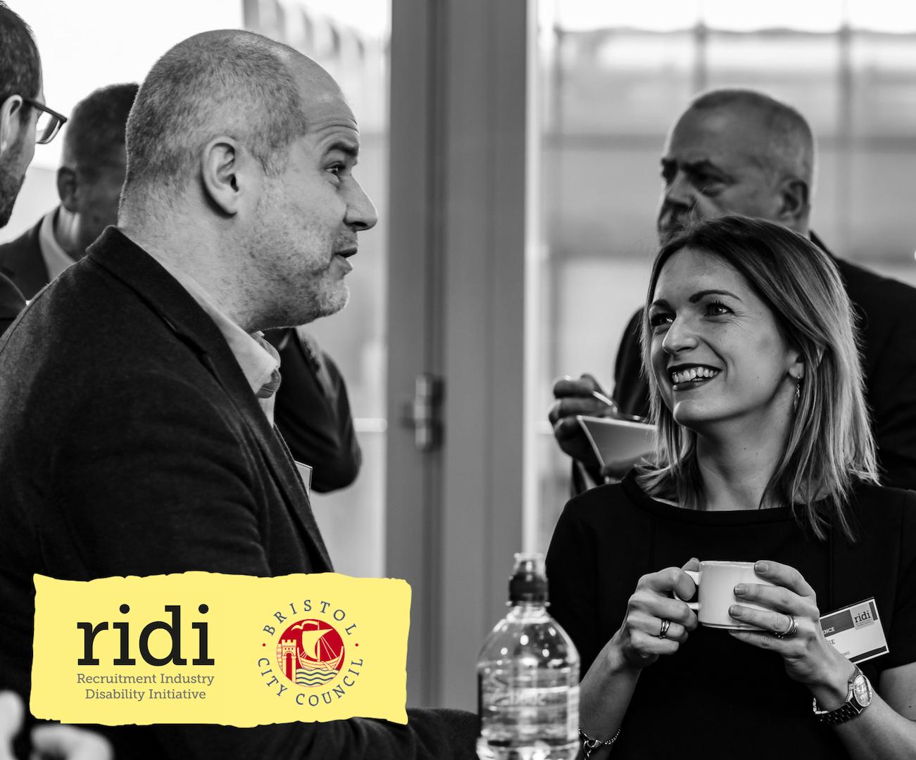 Photo of people at RIDI Awards with RIDI logo and Bristol City Council logo